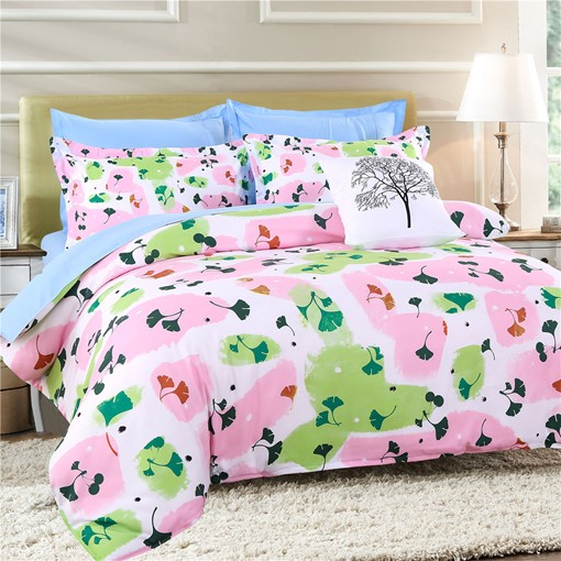 Multi-Color Blocks and Ginkgo Pattern Polyester 4-Piece Bedding Sets/Duvet Cover
