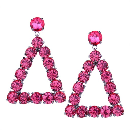 Triangle Rhinestone Alloy Shining Earrings