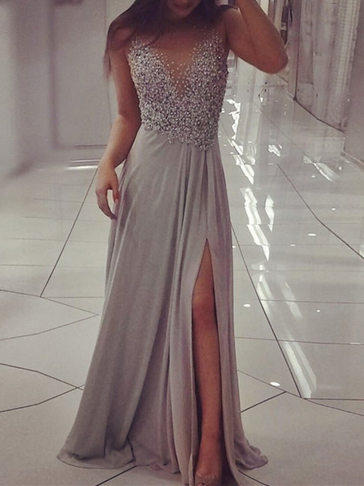 A-Line Beading Scoop Long Evening Dress