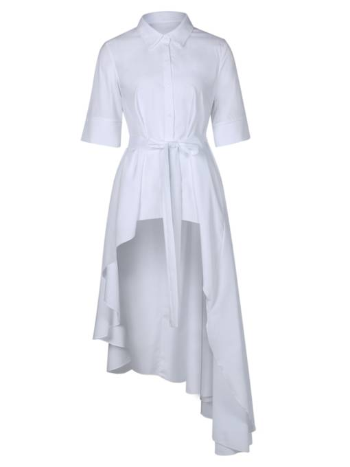 Lace up Off White Asym Women's Day Dress