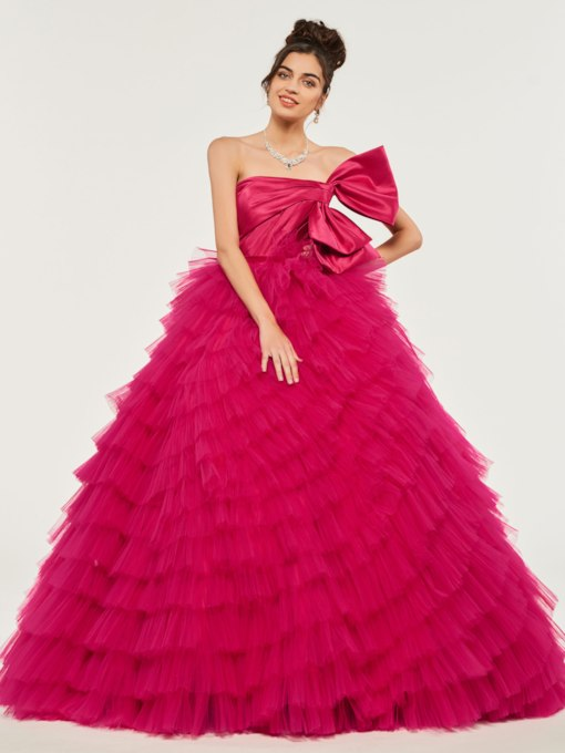 Strapless Empire Bowknot Tiered Quinceanera Dress