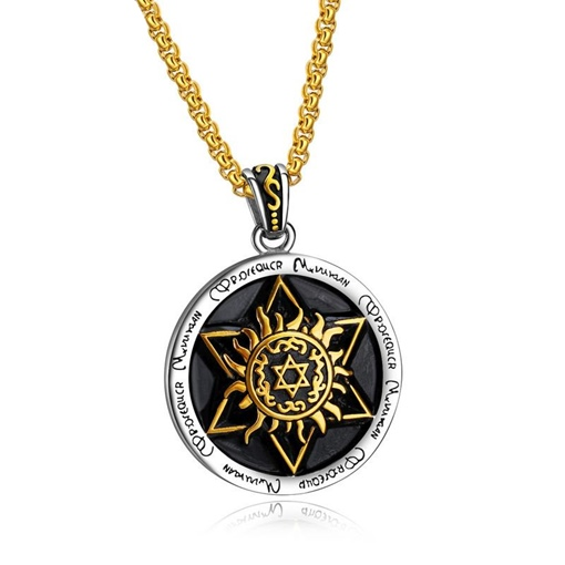 Titanium Steel Round Hexagram Men's Necklace