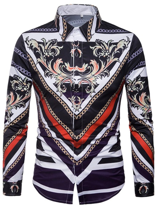 Square Collar African Print Men's Shirt