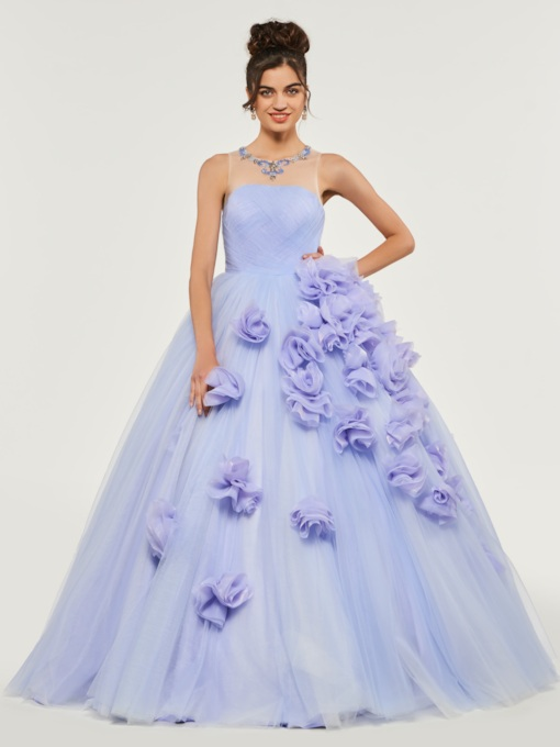 Scoop Flowers Pleats Quinceanera Dress