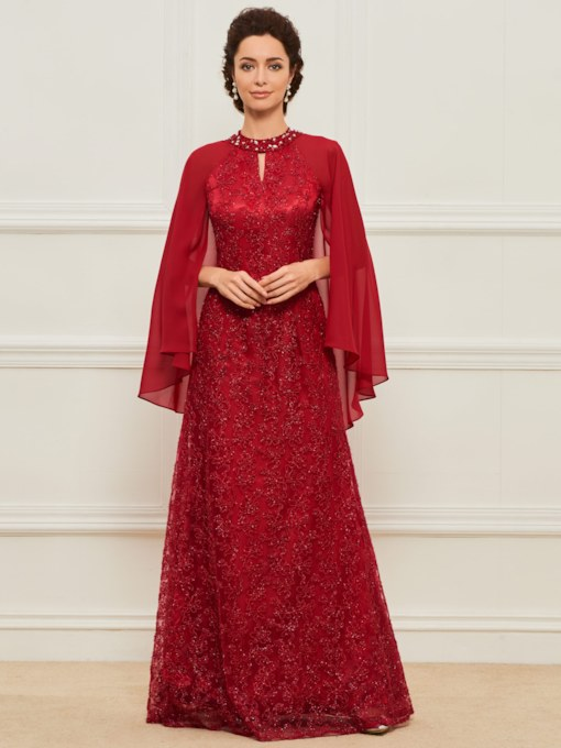 Beading Lace Mother of the Bride Dress with Sleeve