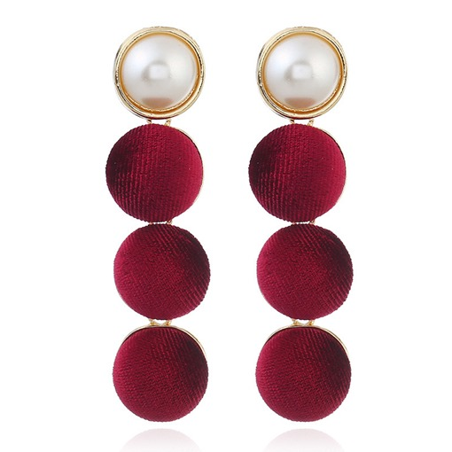 Retro Flannel Alloy Imitation Pearl Earrings