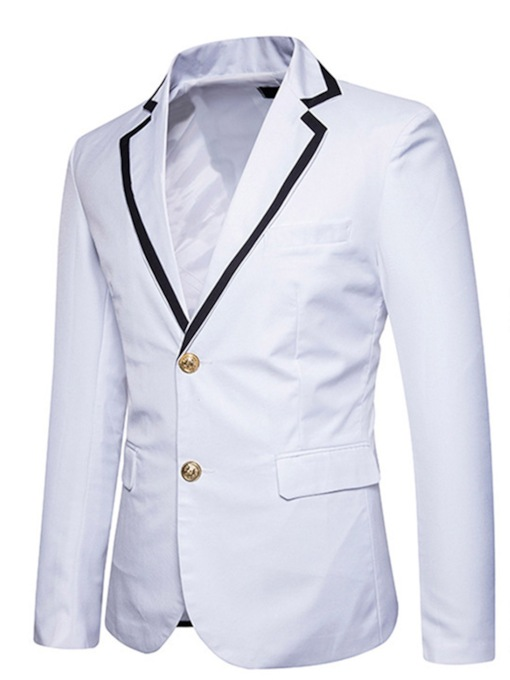 Notched Collar Double Button Slim Men's Blazer