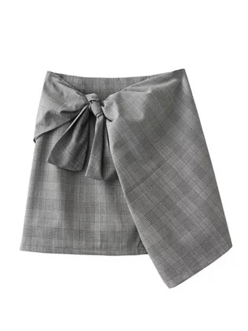 Asymmetric Bowknot Plaid Women's Mini Skirt