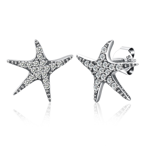 Starfish Diamante Fine Silver Earrings