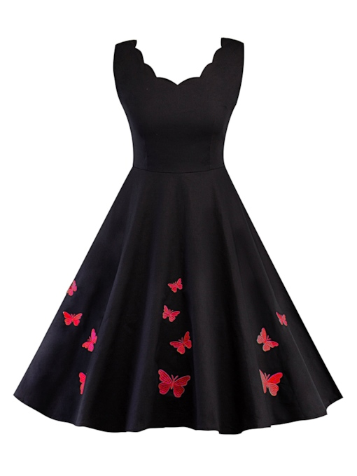 Sleeveless Butterfly Pattern Women's Day Dress