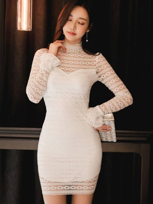 White Flare Sleeve Women's Lace Dress