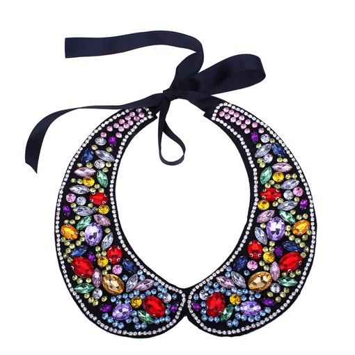 Colorful Simulated Crystal Ribbo Collar Necklace