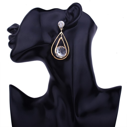 Zircon Hollow Out Pear Alloy Earrings