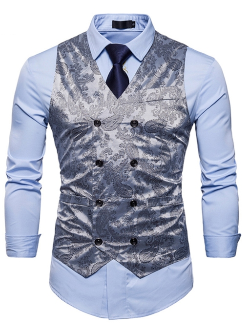 Double-Breasted Floral Print Men's Vest