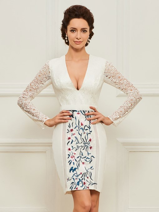 Embroidery Lace Sheath Mother Dress with Long Sleeve