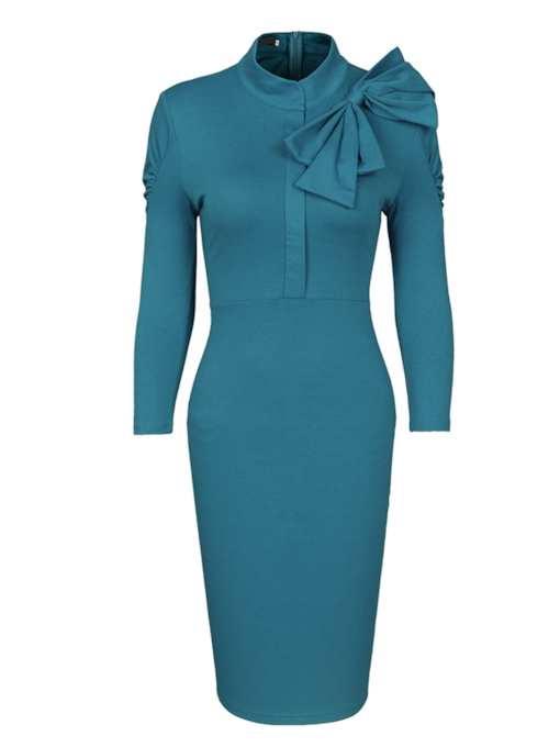 Turtle Neck Bowtie Women's Pencil Dress