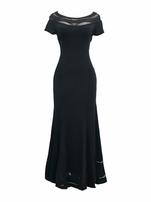 Boat Neck Bodycon Women's Maxi Dress