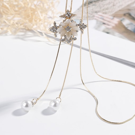 Flower Imitation Pearl Tassel Necklace