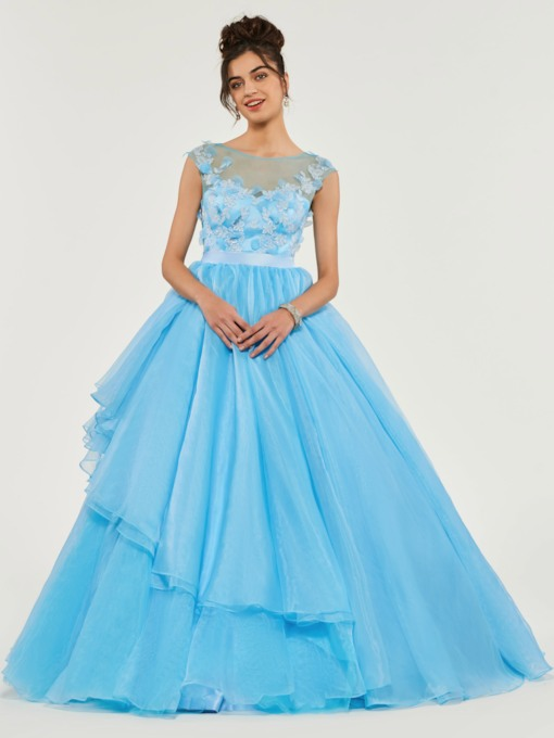 Scoop Cap Sleeves Appliques Quinceanera Dress