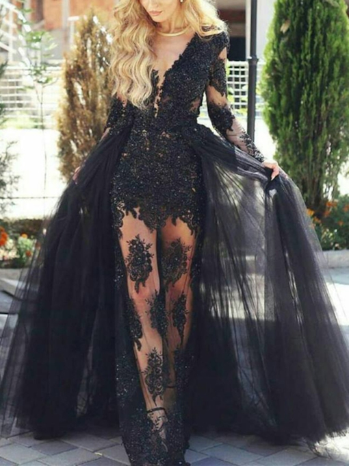 Sheer Neck Appliques Long Sleeves Evening Dress with Train