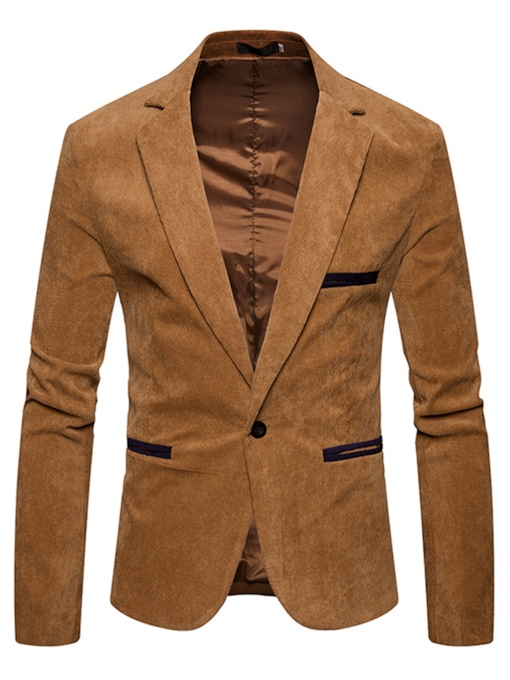 Corduroy Notched Collar One Button Men's Blazer
