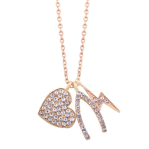 Lightning Heart Diamante Clavicle Chain Necklace