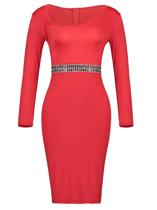 Plain Rhinestones Decorated Women's Bodycon Dress