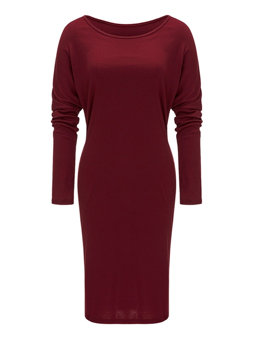 Long Sleeve Ruffled Women's Sheath Dress