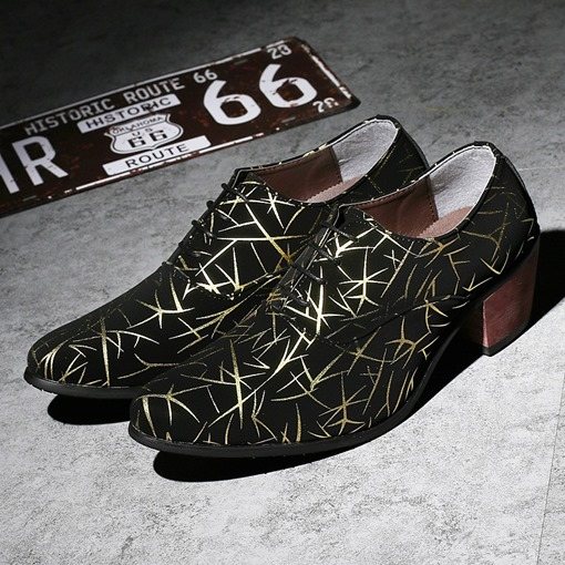 Print Lace Up Chunky High Heels for Men