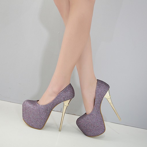 Ultra High Heel Glitter Platform Pumps Prom Shoes for Women