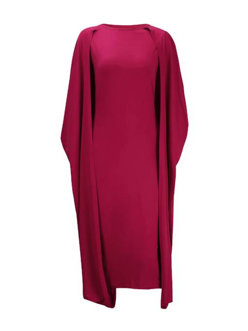 Plain Round Neck Women's Cape Dress