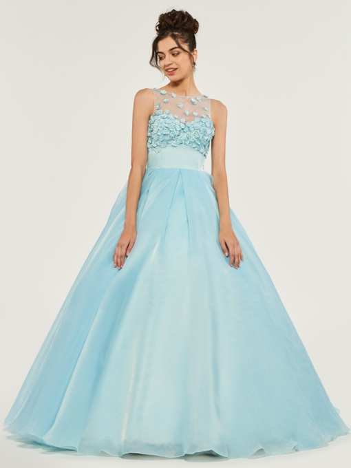 Scoop Appliques Floor-Length Quinceanera Dress