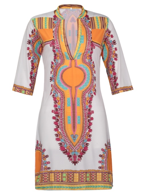 Ethnic Pattern Half Sleeve Women's Sheath Dress