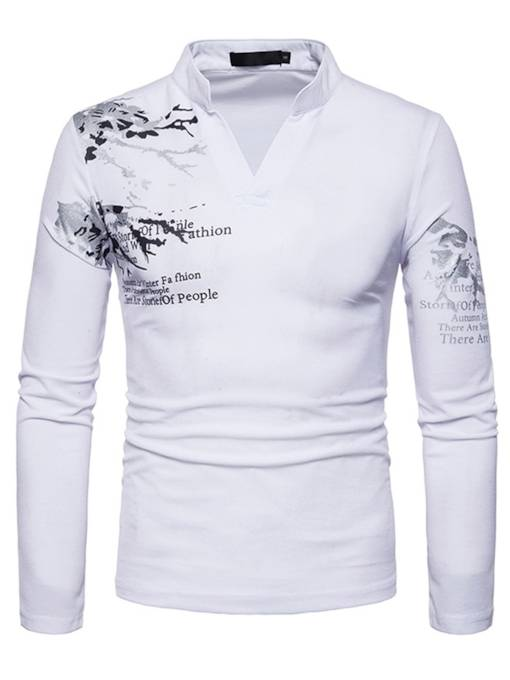 V-Neck Floral Print Men's Long Sleeve T-Shirt