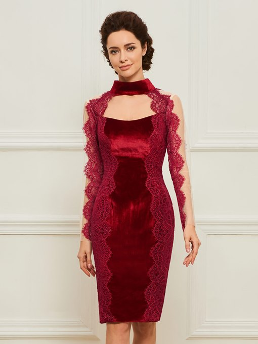 High Neck Velvet Sheath Mother Dress with Long Sleeve