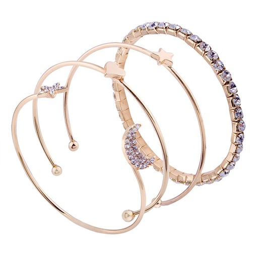 Diamante Moon Star Opening Bracelet