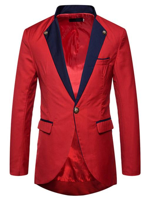 Midi Pattern Color Block Slim Men's Blazer