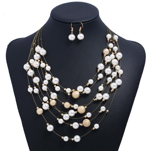 Metal Imitation Pearl Multilayer Jewelry Sets