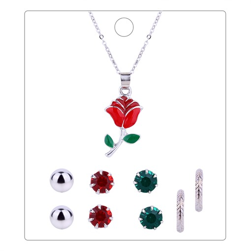 Rose Silver Plated Alloy Jewelry Sets