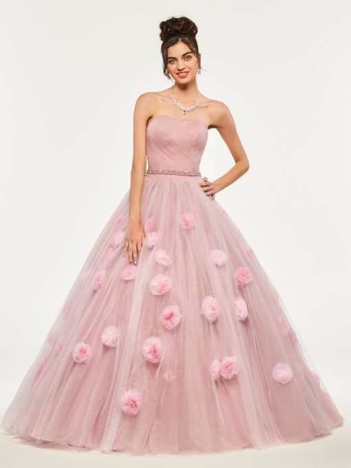 Sweetheart Beading Flowers Quinceanera Dress