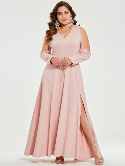 Pink Cold Shoulder Women's Maxi Dress