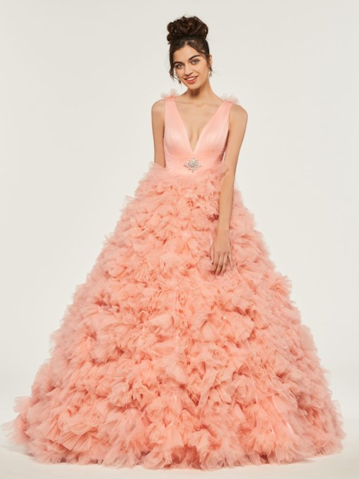 Beading Cascading Ruffles V-Neck Quinceanera Dress
