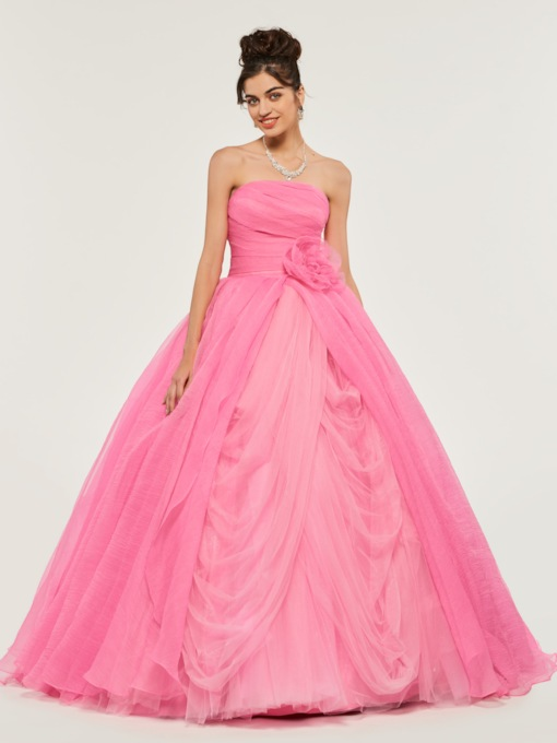 Strapless Flowers Pick-Ups Ball Gown Quinceanera Dress