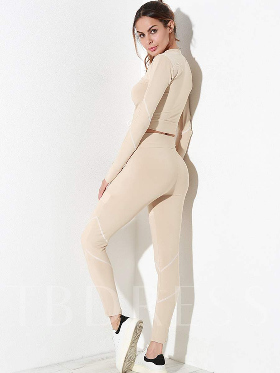 Two Pieces Workout Suit Patchwork Solid Anti-Sweat Women's Sports Set