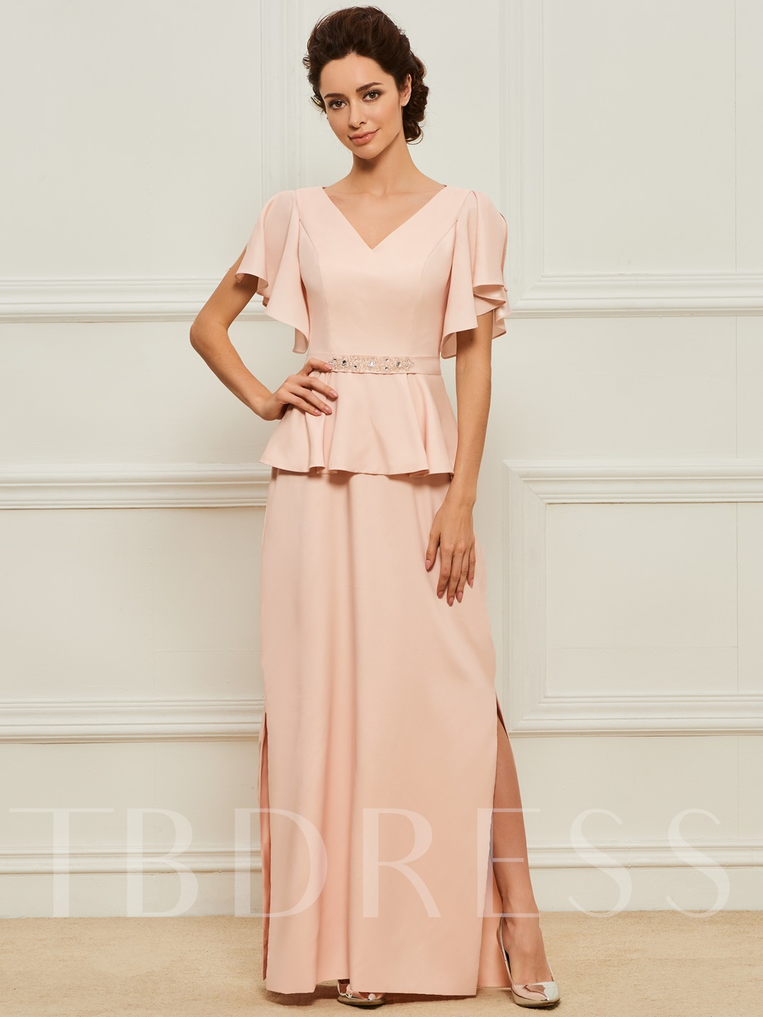 V-Neck Beaded Split-Side Mother of the Bride Dress