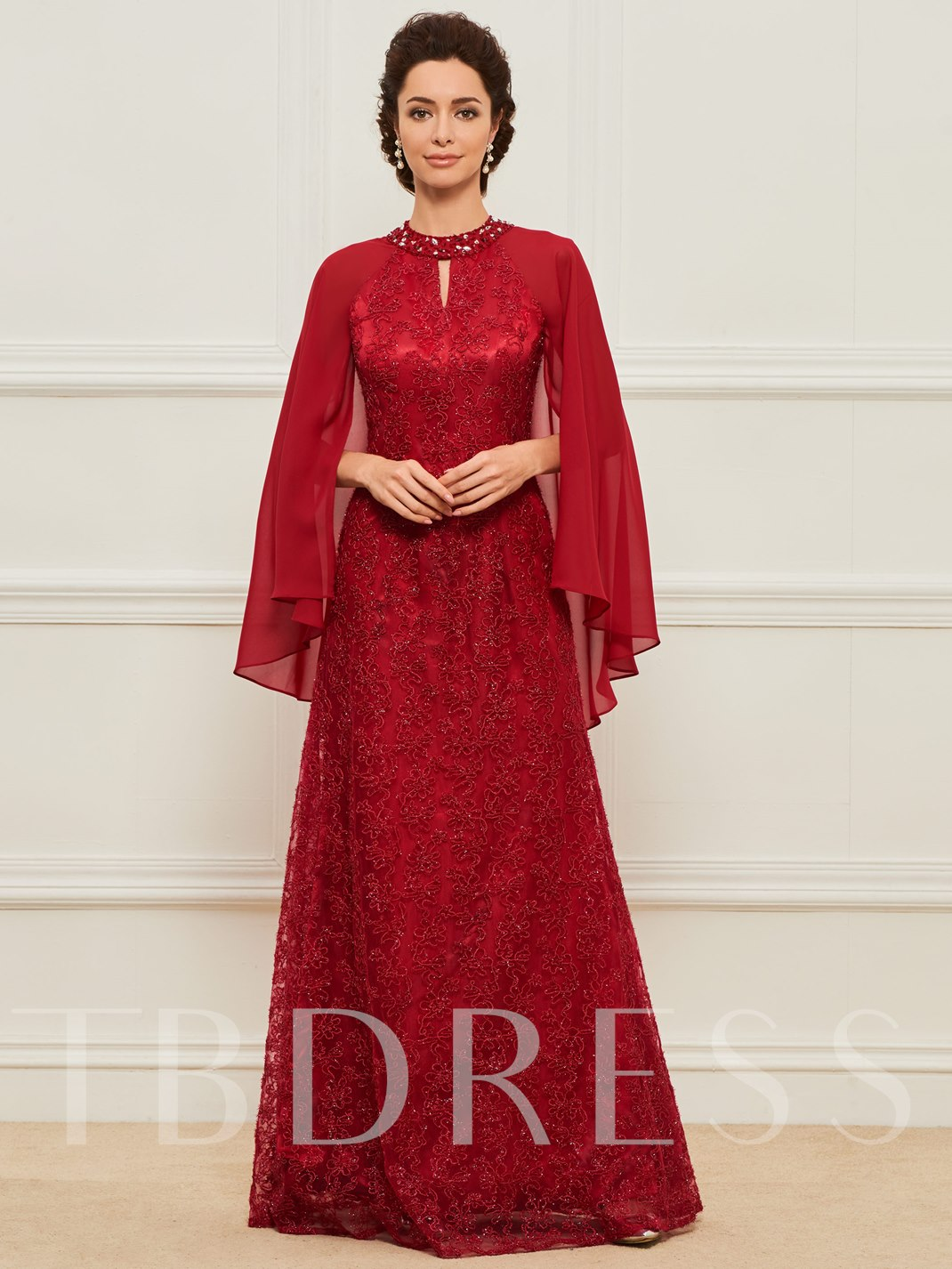 Beading Lace Mother Dress with Sleeves