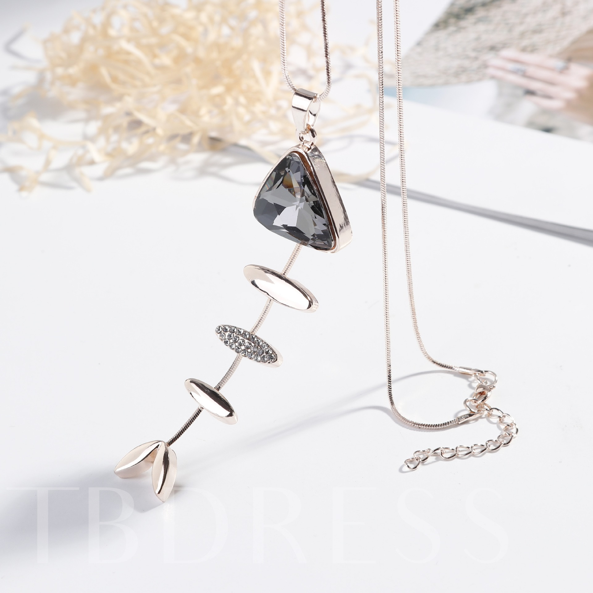 Alloy Fish Diamante Sweater Chain Necklace