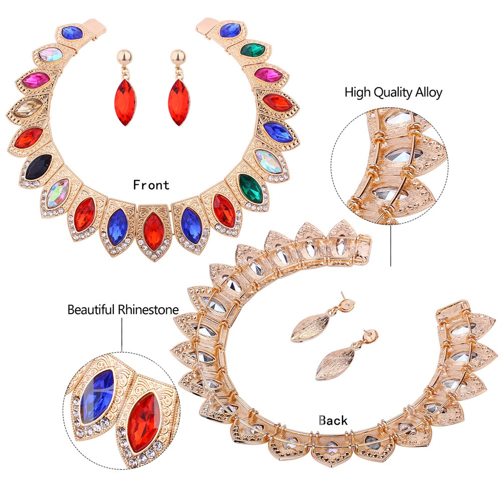 Diamante Colorful Pear Alloy Jewelry Sets