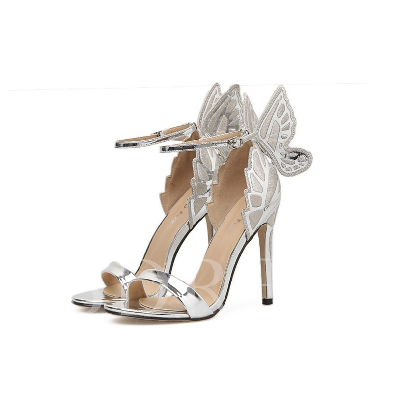 Metallic Shoes Butterfly Wing High Heel Sweet Sandals for Women