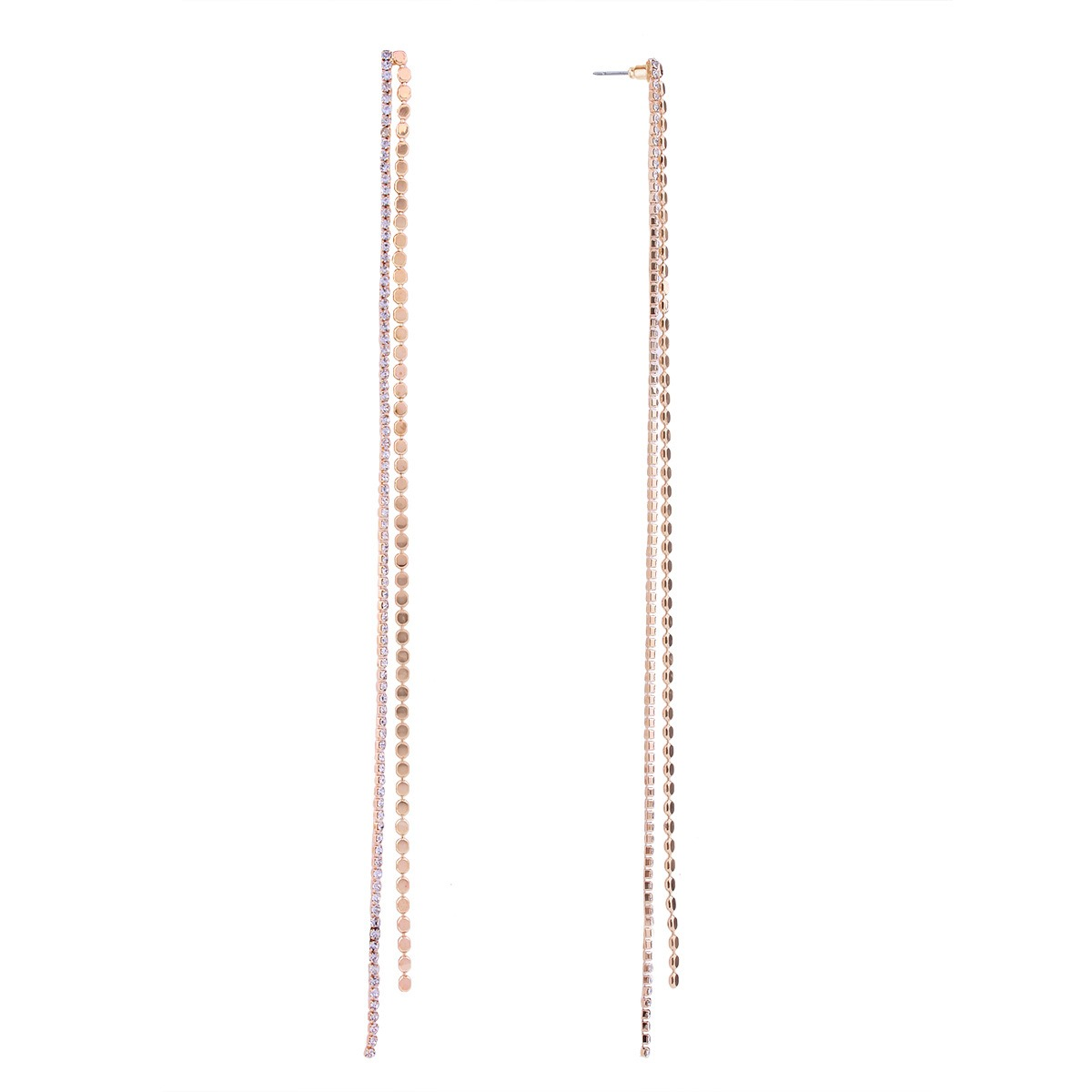 Tassel Diamante Long Pendant Earrings